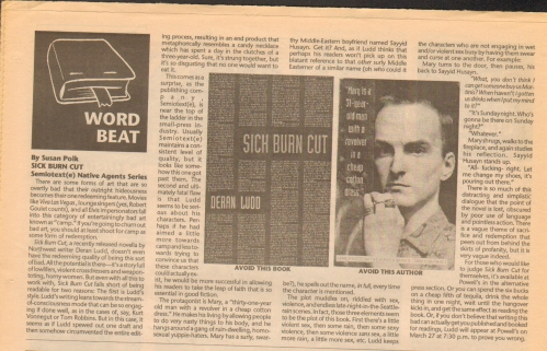 scanned image of the review by Susan Polk in the newspaper Paperback Jukebox